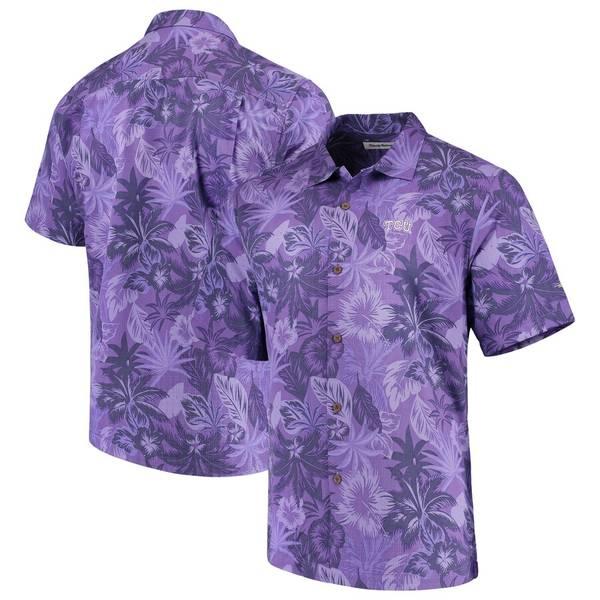 トッミーバハマ メンズ シャツ トップス TCU Horned Frogs Tommy Bahama Fuego Floral Silk Camp Shirt Purple