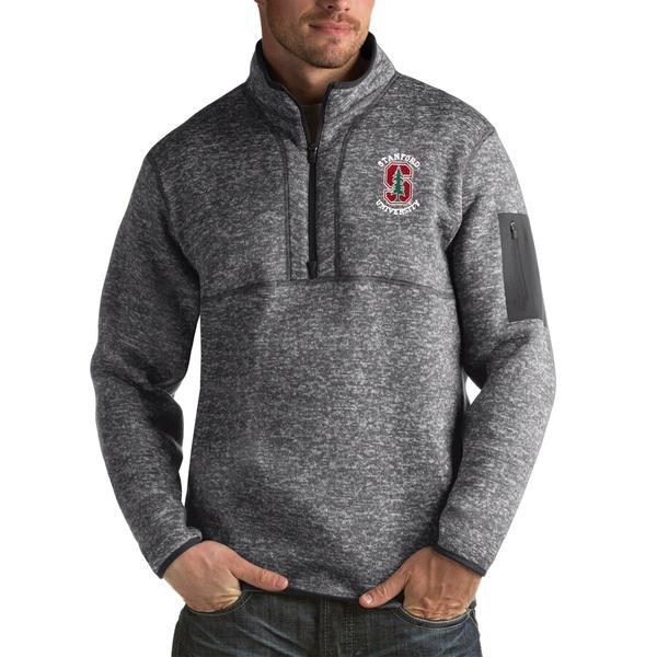アンティグア メンズ ジャケット&ブルゾン アウター Stanford Cardinal Antigua Fortune Big & Tall Quarter-Zip Pullover Jacket Charcoal