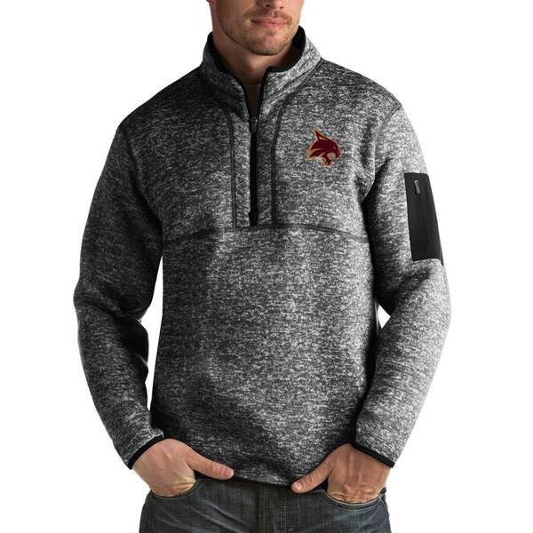 アンティグア メンズ ジャケット&ブルゾン アウター Texas State Bobcats Antigua Fortune Big & Tall Quarter-Zip Pullover Jacket Black