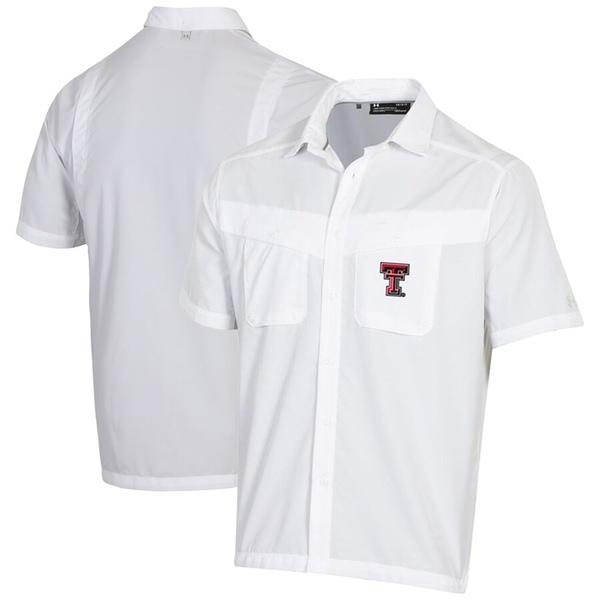 アンダーアーマー メンズ シャツ トップス Texas Tech Red Raiders Under Armour Tide Chaser Performance Button-Up Shirt White
