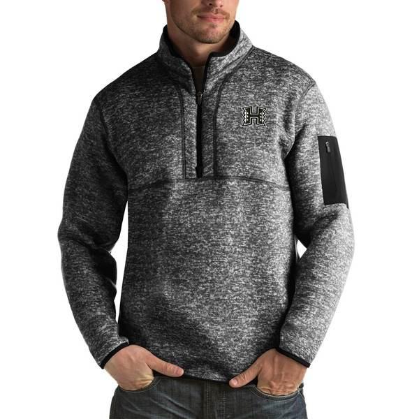 アンティグア メンズ ジャケット&ブルゾン アウター Hawaii Warriors Antigua Fortune Big & Tall Quarter-Zip Pullover Jacket Black