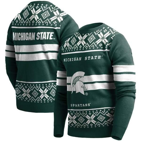 フォコ メンズ シャツ トップス Michigan State Spartans College Two-Stripe Light-Up Sweater Green