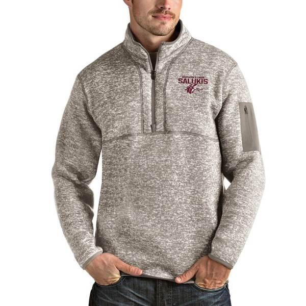 アンティグア メンズ ジャケット&ブルゾン アウター Southern Illinois Salukis Antigua Fortune Half-Zip Pullover Jacket Oatmeal