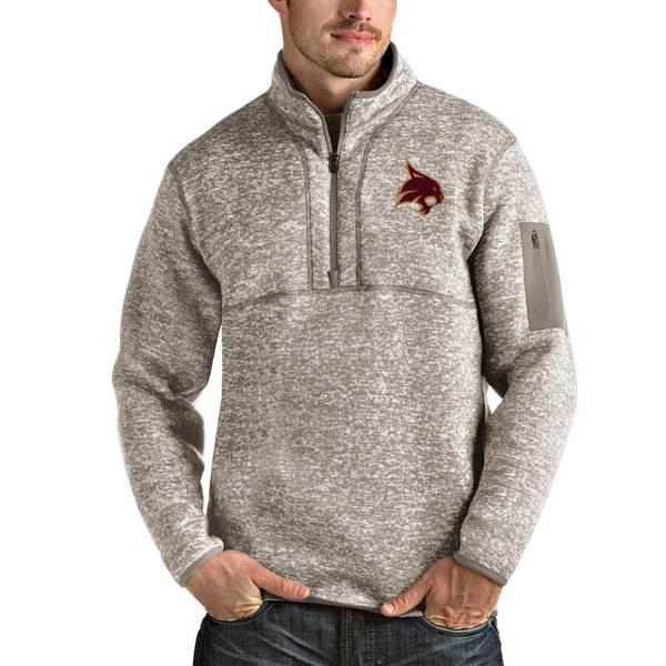 アンティグア メンズ ジャケット&ブルゾン アウター Texas State Bobcats Antigua Fortune Half-Zip Pullover Jacket Oatmeal