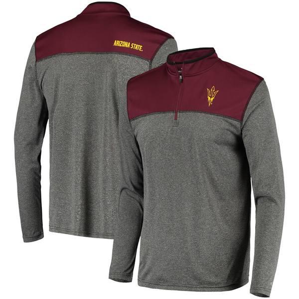 コロシアム メンズ ジャケット&ブルゾン アウター Arizona State Sun Devils Colosseum Rangers Quarter-Zip Pullover Wind Shirt Charcoal
