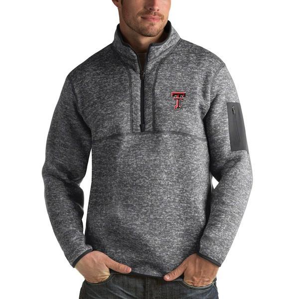 アンティグア メンズ ジャケット&ブルゾン アウター Texas Tech Red Raiders Antigua Fortune 1/2-Zip Pullover Sweater Heathered Charcoal