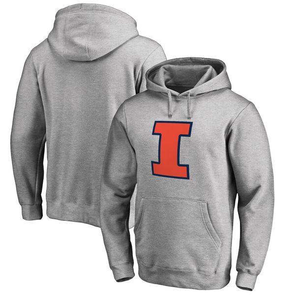 ファナティクス メンズ パーカー・スウェットシャツ アウター Illinois Fighting Illini Fanatics Branded Primary Team Logo Pullover Hoodie Ash