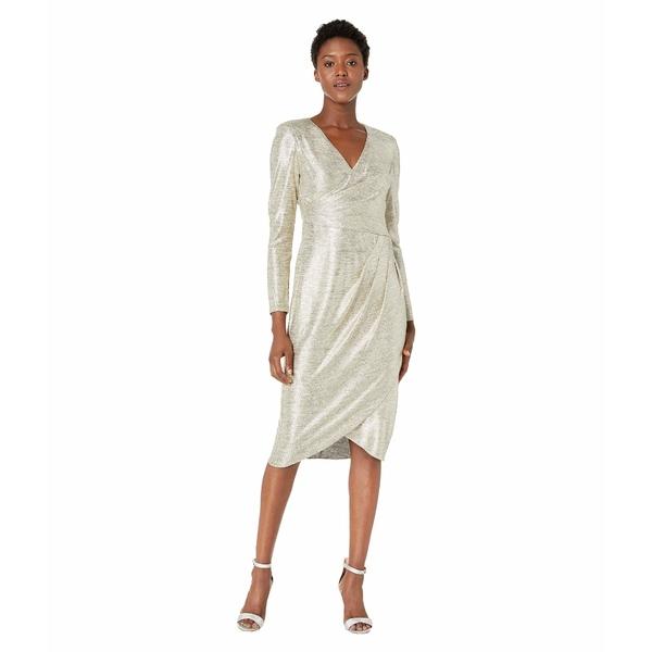 アドリアナ パペル レディース ワンピース トップス Foiled Jersey Pleat Wrap Cocktail Dress Gold