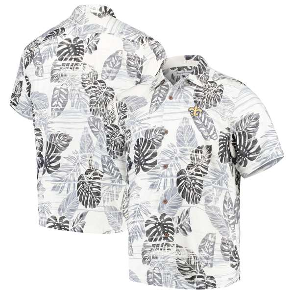 トッミーバハマ メンズ シャツ トップス New Orleans Saints Tommy Bahama Super Fan Camp ButtonUp Shirt Black