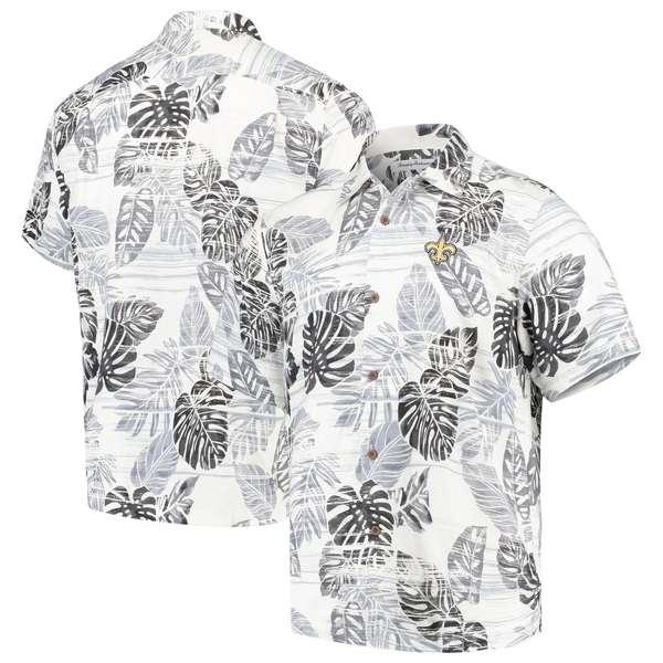 トッミーバハマ メンズ シャツ トップス New Orleans Saints Tommy Bahama Super Fan Camp ButtonUp Shirt Black