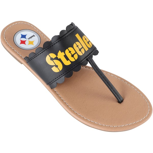 フォコ レディース サンダル シューズ Pittsburgh Steelers Women's Ruffle Sandals Black