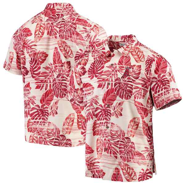 トッミーバハマ メンズ シャツ トップス Los Angeles Angels Tommy Bahama Sport Super Fan Silk Camp Shirt Red