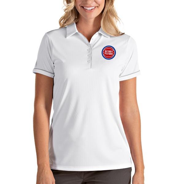 アンティグア レディース ポロシャツ トップス Detroit Pistons Antigua Women's Salute Polo White/Silver