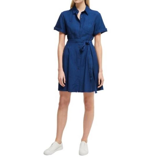 フレンチコネクション レディース ワンピース トップス Leila Tie Waist Shirt Dress DARK MID INDIGO