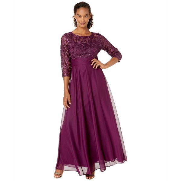 アレックスイブニングス レディース ワンピース トップス Long A-Line Dress with Sequin Embroidered Bodice Bright Plum
