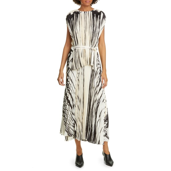 プロエンザショラー レディース ワンピース トップス Proenza Schouler Brushstroke Print Pleated Dress Ecru/ Black Drape