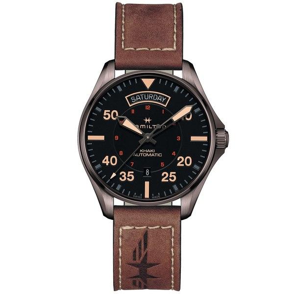 ハミルトン レディース 腕時計 アクセサリー Men's Swiss Automatic Khaki Pilot Brown Leather Strap Watch 42mm No Color