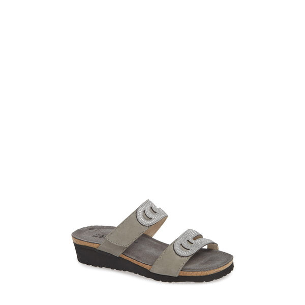 ナオト レディース サンダル シューズ Ainsley Studded Slide Sandal Light Grey Nubuck Leather