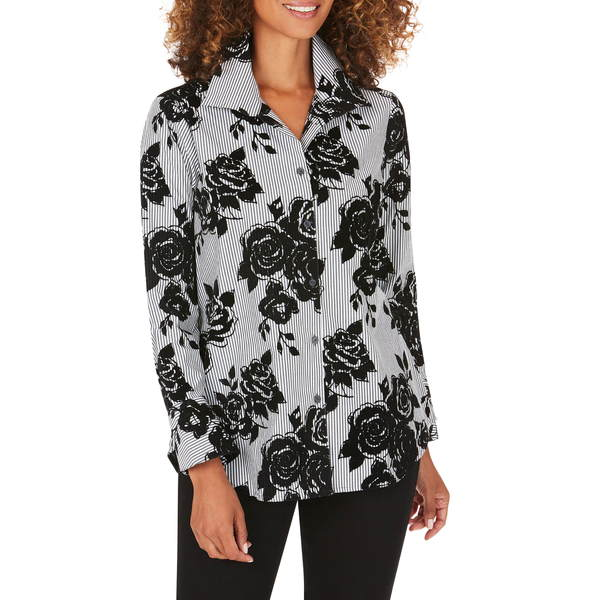 フォックスクラフト レディース シャツ トップス Jane Flocked Floral Stripe Tunic Shirt Black