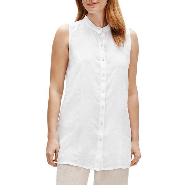 エイリーンフィッシャー レディース Tシャツ トップス Organic Linen Tunic Top White