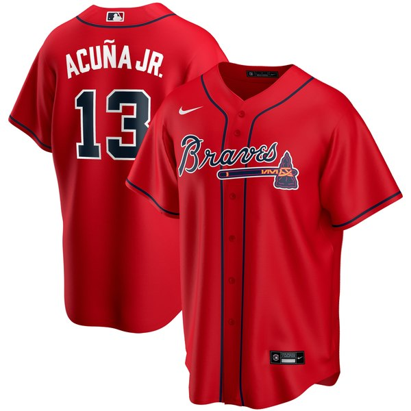 ナイキ メンズ ユニフォーム トップス Ronald Acuna Jr. Atlanta Braves Nike Alternate 2020 Replica Player Jersey Red