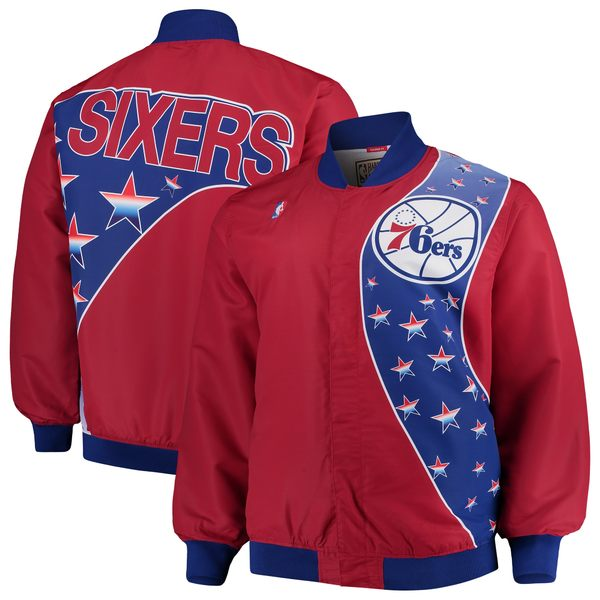 ミッチェル&ネス メンズ ジャケット&ブルゾン アウター Philadelphia 76ers Mitchell & Ness Hardwood Classics Big & Tall Authentic WarmUp Jacket Red