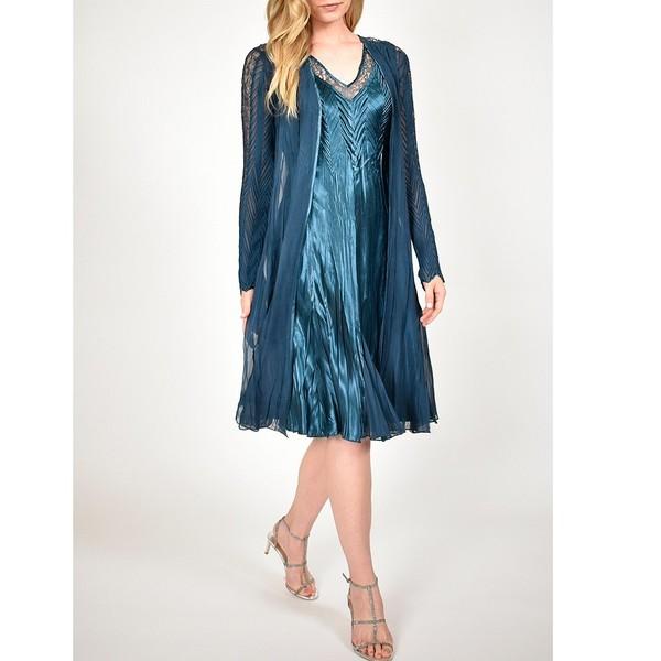 魅力的な価格 コマロフ レディース ワンピース トップス Pleated Duster and Ombre Charmeuse Midi Dress Set Moroccan Blue, ロイスピエール 77e31bc6