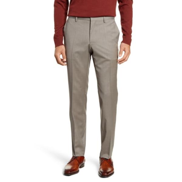 ボス メンズ カジュアルパンツ ボトムス Genesis Flat Front Slim Fit Solid Wool Dress Pants Light Beige