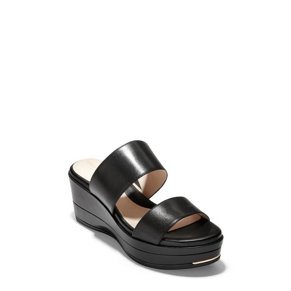 コールハーン レディース サンダル シューズ Grand Ambition Wedge Slide Sandal Black Leather