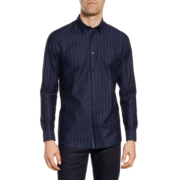 テッドベーカー メンズ シャツ トップス Slim Fit Dot Stripe Button-Up Shirt Navy