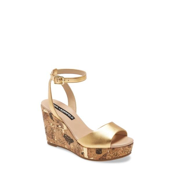 カールラガーフェルド レディース サンダル シューズ Carin Wedge Sandal Gold Leather