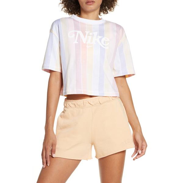 ナイキ レディース Tシャツ トップス Sportswear Retro Print Crop Top White