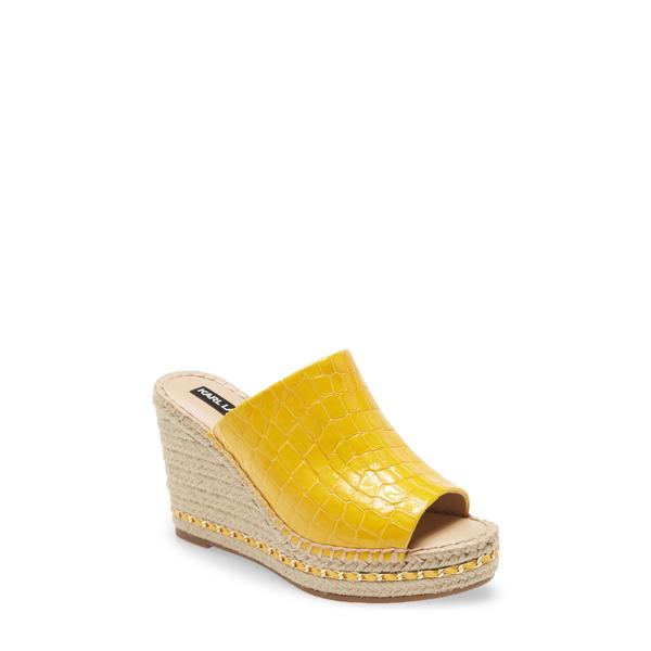 カールラガーフェルド レディース サンダル シューズ Carina Wedge Sandal Yellow Leather