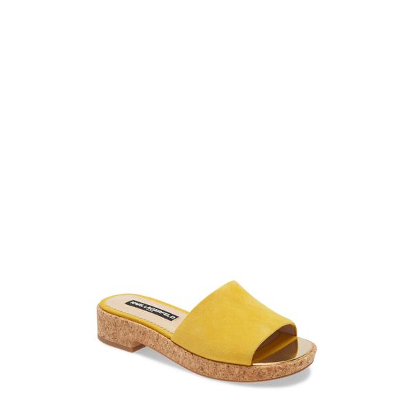 カールラガーフェルド レディース サンダル シューズ Platform Slide Sandal Yellow Suede