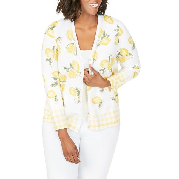 フォックスクラフト レディース Tシャツ トップス Veronika Lemon & Gingham Cardigan Lemon Sorbet