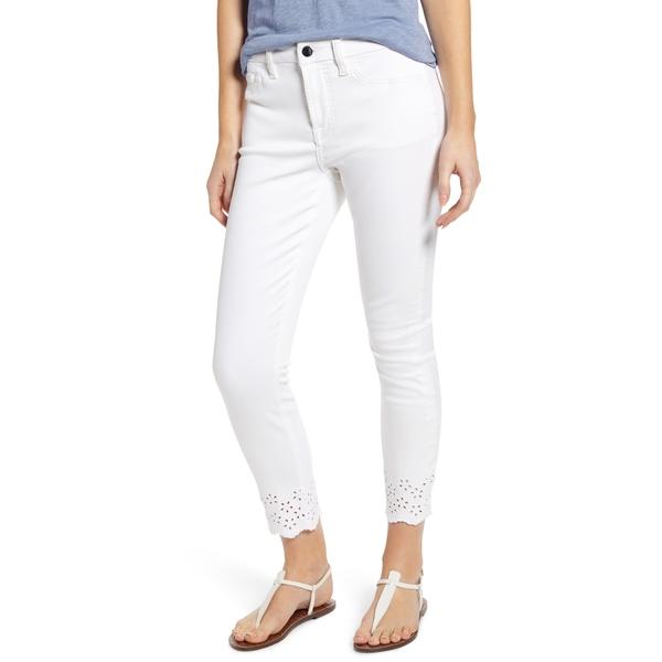 セブン フォー オール マンカインド レディース デニムパンツ ボトムス High Waist Eyelet Hem Ankle Skinny Jeans White