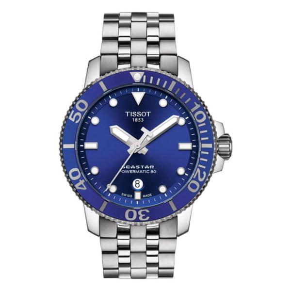 ティソット メンズ ブレスレット・バングル・アンクレット アクセサリー Seastar 1000 Powermatic 80 Bracelet Watch, 43mm Silver/ Blue/ Silver