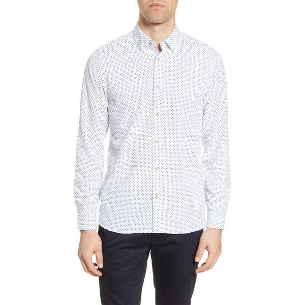 テッドベーカー メンズ シャツ トップス Geo Print Slim Fit Button-Up Shirt White