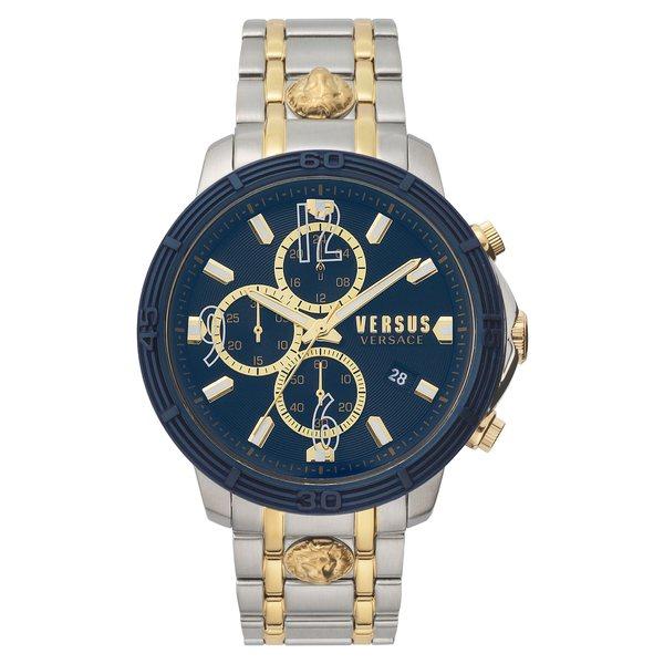 ヴェルサス ヴェルサーチ メンズ ブレスレット・バングル・アンクレット アクセサリー Bicocca Bracelet Watch, 46mm Silver/ Gold/ Blue