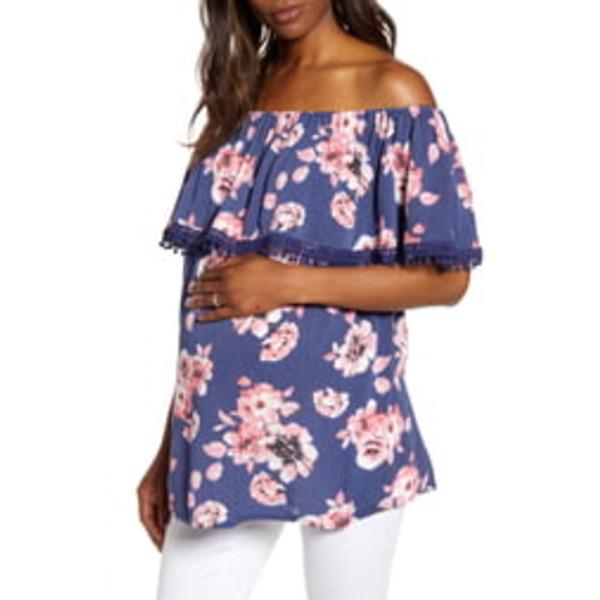 フォーティーンス プレイス レディース Tシャツ トップス Cha Cha Off the Shoulder Maternity Top Navy Blooms