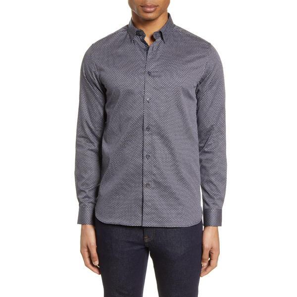 テッドベーカー メンズ シャツ トップス Hamtie Slim Fit Geo Print Button-Up Shirt Navy