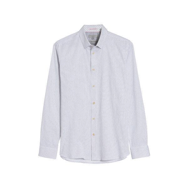 テッドベーカー メンズ シャツ トップス Textured Button-Up Shirt White