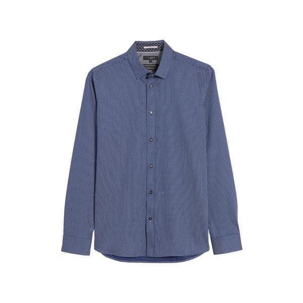 テッドベーカー メンズ シャツ トップス Textured Button-Up Shirt Dark Blue
