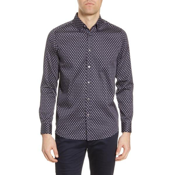 テッドベーカー メンズ シャツ トップス Posee Medallion Print Button-Up Shirt Navy