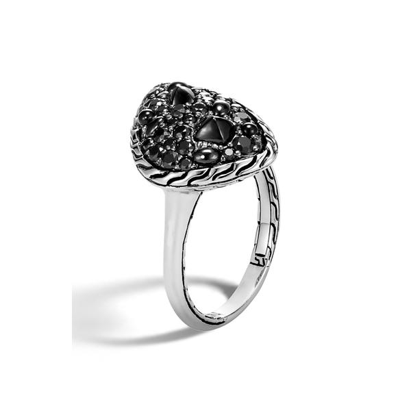 ジョン・ハーディー レディース リング アクセサリー Classic Chain Small Stone Ring Silver/ Black Sapphire