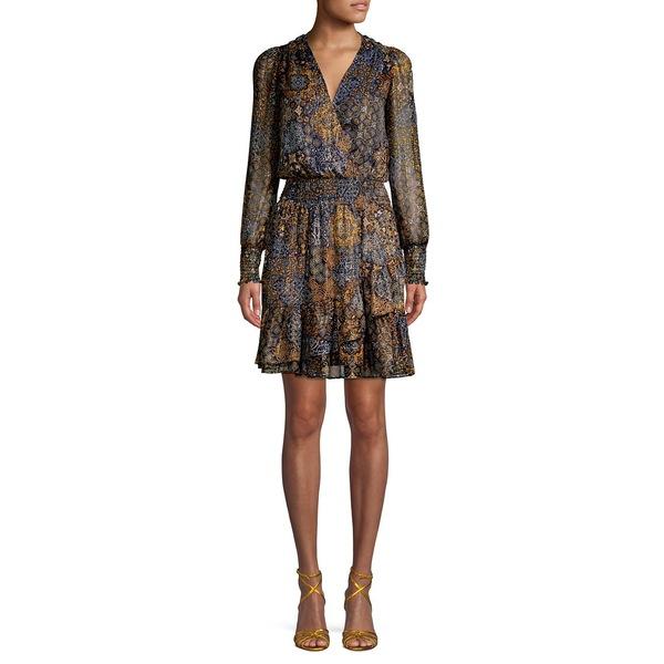 マイケルコース レディース ワンピース トップス Ruffle-Trimmed Mixed-Print Blouson Dress True Navy