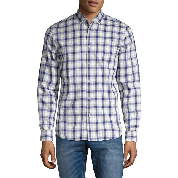 ブラック・ブラウン1826 メンズ シャツ トップス Classic-Fit Plaid Poplin Shirt Dark Cobalt