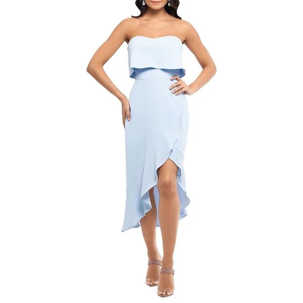 エスケープ レディース ワンピース トップス Strapless Strapless Ruffle Flounce Flounce レディース Dress Light Blue, 工房 墨彩舎:71d7dda6 --- officewill.xsrv.jp