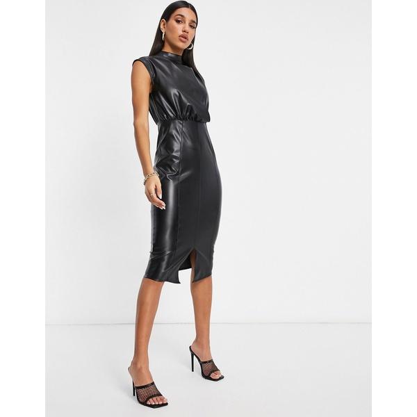 エイソス レディース トップス ワンピース Black 全商品無料サイズ交換 ASOS オーバーのアイテム取扱☆ DESIGN 新品 midi leather dress front drape in black look