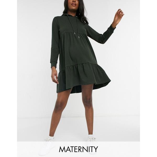 ママライシアス 新作入荷 レディース トップス ワンピース Green 豊富な品 全商品無料サイズ交換 Mamalicious Maternity smock dress in hoodie green